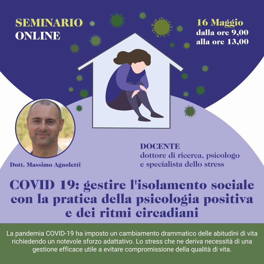 Seminario online – Gestire l'isolamento sociale con la pratica della psicologia positiva e dei ritmi circadiani